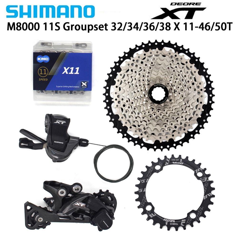 Shimano DEORE XT M8000 11 Speed bike Schaltwerke 11-46/50T Kassette + Kettenblatt + KMC X11 kette MTB bike Groupset 32/34/36/38T