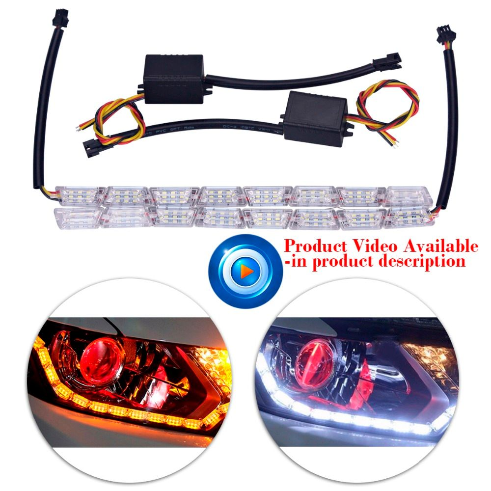 2xCar Styling 8LED Knight Rider Strip LED Daytime Running Light Turn Signal LightS Flowing Yellow Steady Crystal Bar DRL Lamp