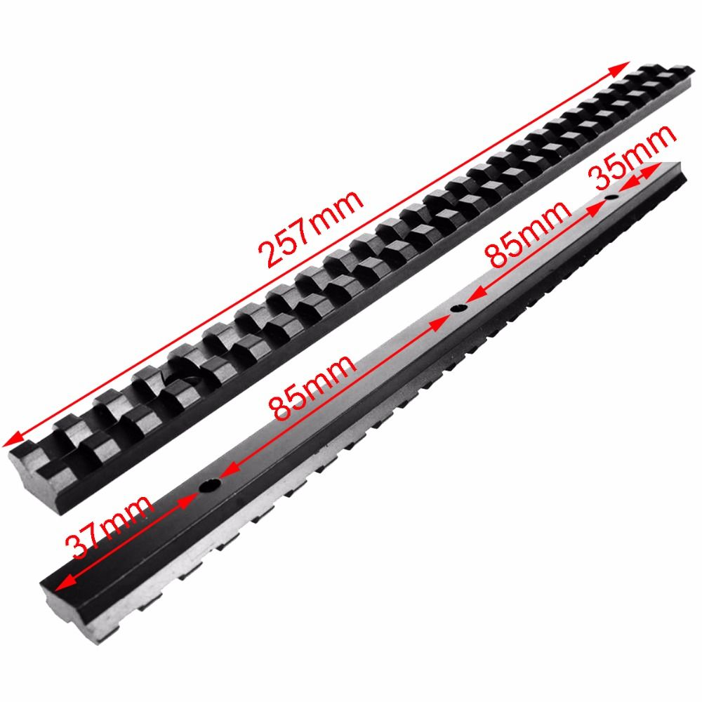 Long 20mm Mount Picatinny Rail with 25 Slots and 257mm Length of Aluminum Alloy for Hunting Rifles B