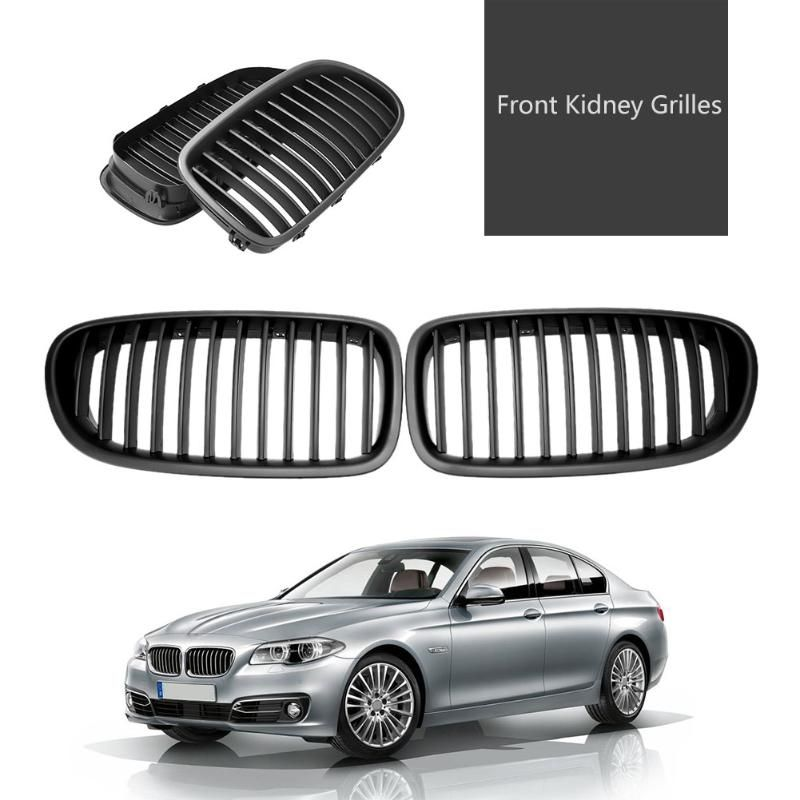 2Pcs Matte Black Front Kidney Grilles for BMW 5 Series 520i F10 523i 10-14 Car Styling Car Racing Grille High Quality Accessory