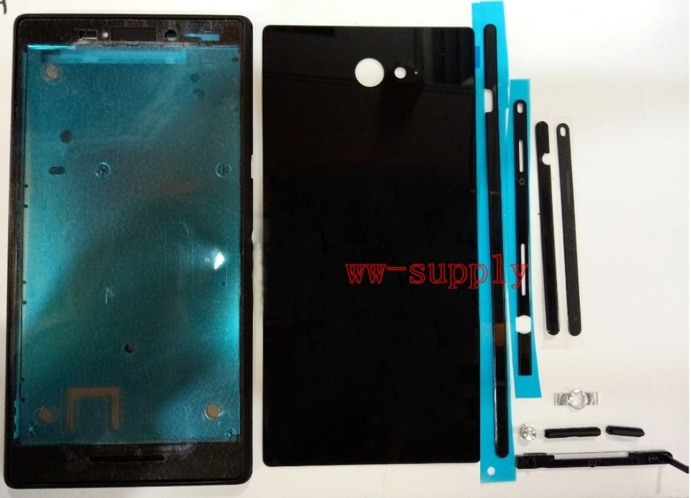 For Sony Xperia M2 D2303 D2305 Full Housing Front Frame + Back Battery Cover + Side Stripe + Adhesive + kits