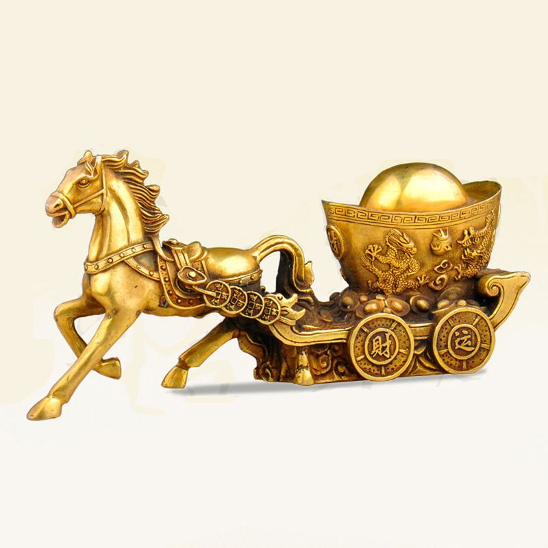 Copper horse drawn carriage carriage lucky Zodiac gold business gifts home feng shui Home Furnishing bronze decorations