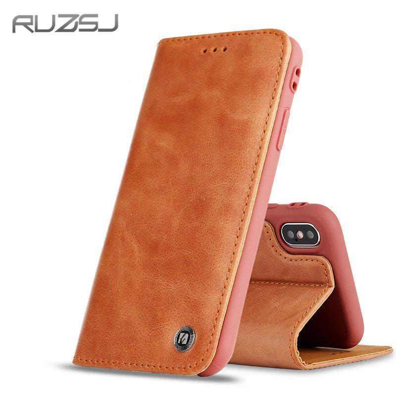 Ruzsj люкс Ретро PU кожаный чехол для iPhone 7 плюс 8 держателей карт Чехол крышка для iPhone X кожаный бумажник чехол