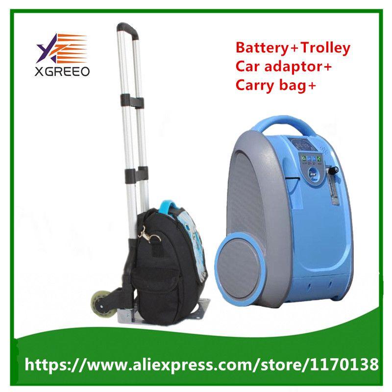 XGREEO 90% Hohe Reinheit 5L Fluss Medizinische Tragbare Sauerstoff Konzentrator Generator Batterie Trolley Trage Tasche Auto adapter Air Purifier