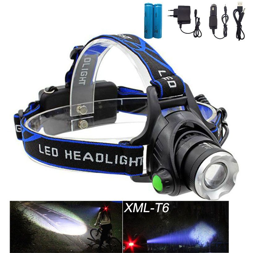 Rechargeable XML T6 Zoom <font><b>Head</b></font> Lamp torch LED Headlamp + 18650 Battery Headlight Flashlight Lantern night fishing lampe frontale