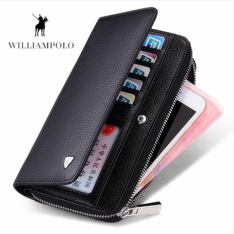 WILLIAMPOLO Männer Lange Brieftasche Neue Luxus Marke 100% Top Echtem Rindsleder Hohe Qualität Geldbörse mode Männlichen Brieftaschen