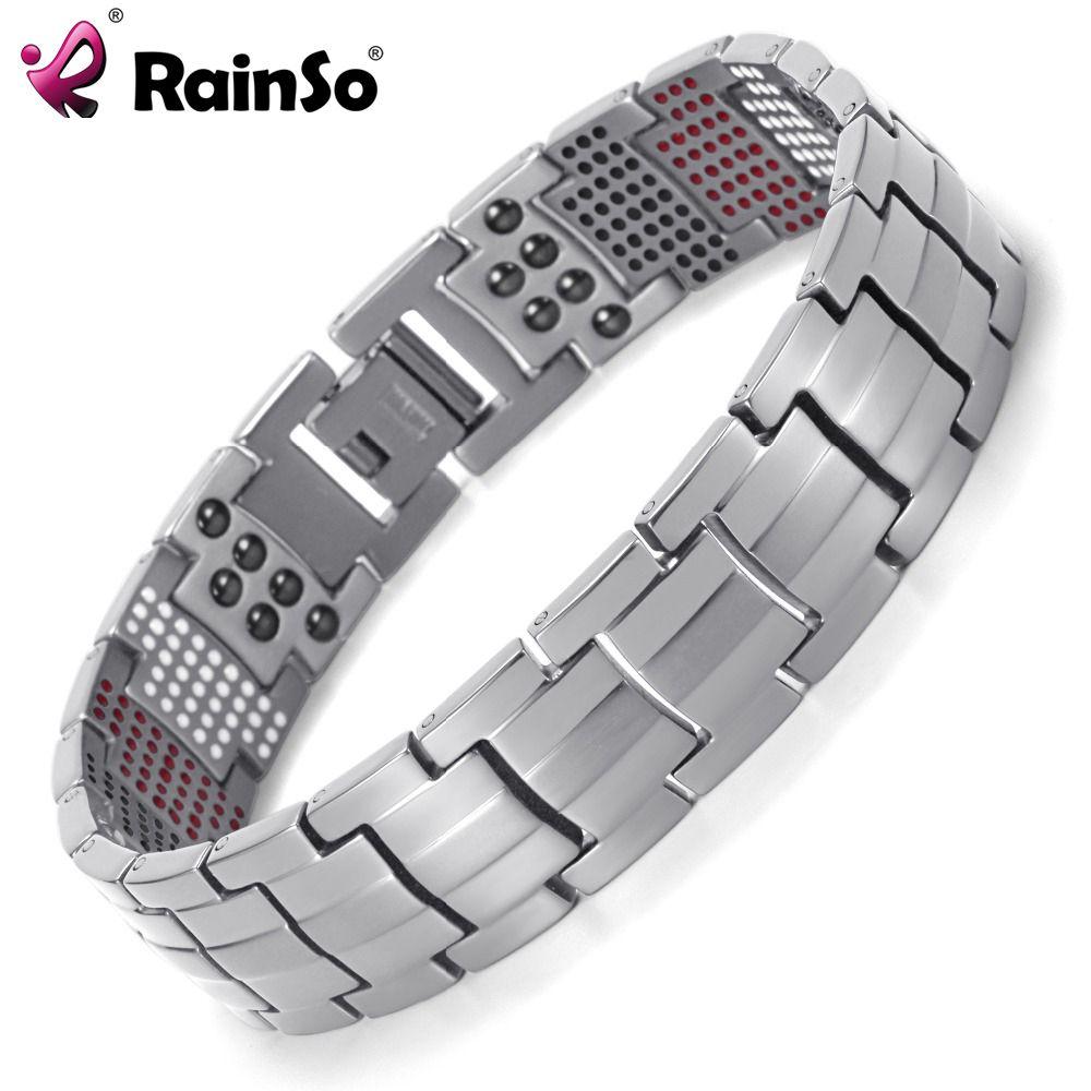 Rainso Men Jewelry Healing magnetic Bangle <font><b>Balance</b></font> Health Bracelet Silver Titanium Bracelets Special Design for Male