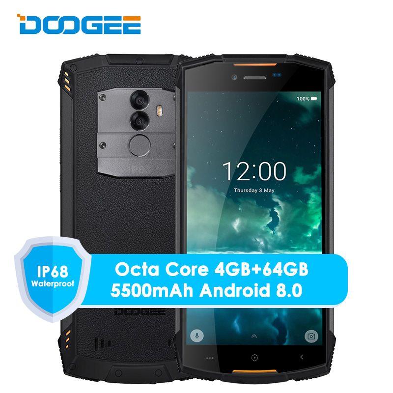 Smartphone Original Doogee S55 4G LTE double Sim IP68 Android 8.0 Octa Core 4G + 64G étanche antichoc empreinte digitale de téléphone 5500 mAh