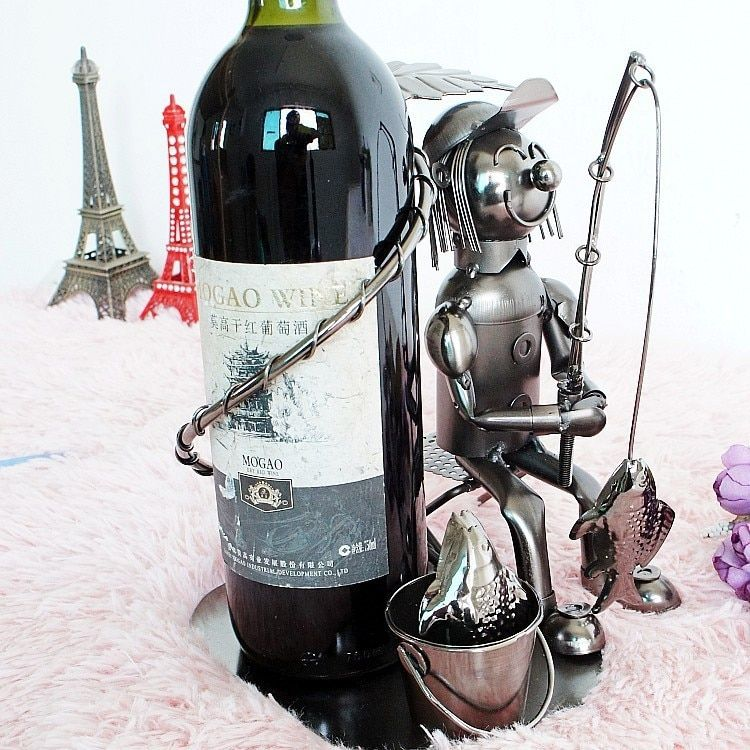 O. roselif виски держатель бар ручной работы забавные Рыбак винный шкаф Изделия из металла подарок домашние вина держатель улыбка