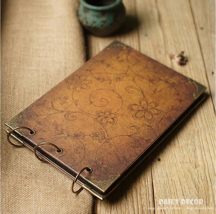 100% haute qualité vintage bricolage a4 album photo scrapbook à la main étanche en carton dur album photo avec anneau de cuivre