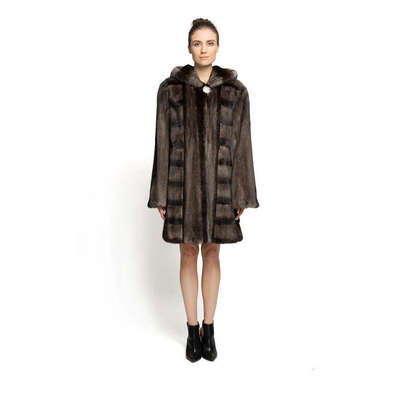 ZY89008 New Design Ladies Luxury Especially Real Mink Fur With Mink Fur Hooede long Fur Coat Solid Fur Long Jacket