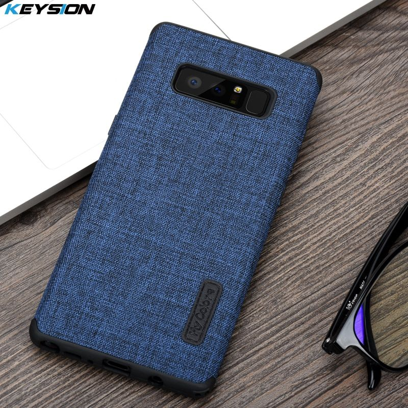 Keysion Case for Samsung Galaxy Note 8 Fashion Linen Cloth and TPU Silicone soft Anti-knock Cover for Samsung N950 Lanyard shell