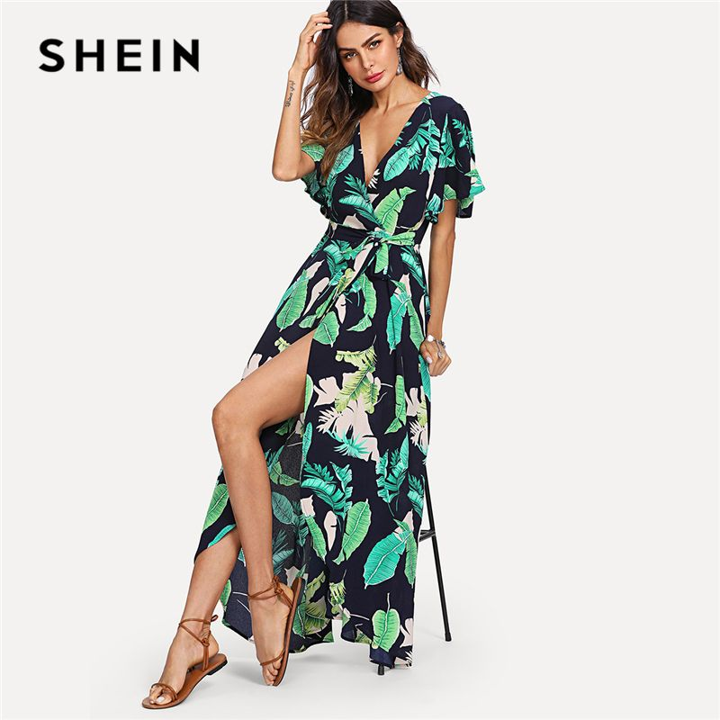 SHEIN Multicolor Vacation Boho Bohemian Beach Jungle Leaf Print Self Belted Wrap High Waist Maxi Dress Summer Women Sexy Dress