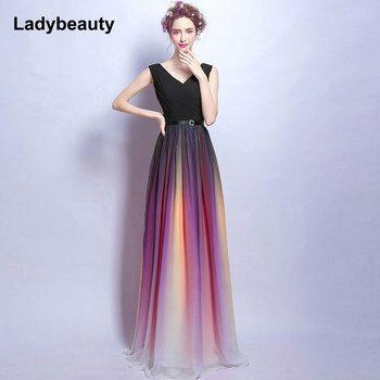 Ladybeauty Gradient V-Neck Long Evening Dress 2018 Hot Sale Lace-Up Formal Evening Party Dresses Gown Robe De Soiree