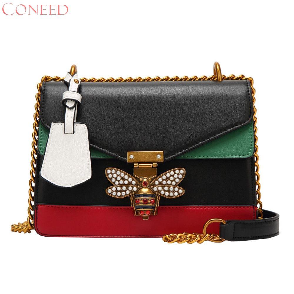 CONEED Women Color splicing Little bee Bags Fashion Zipper Designer Handbag Casual Shoulder Messenger Bag d25w30x