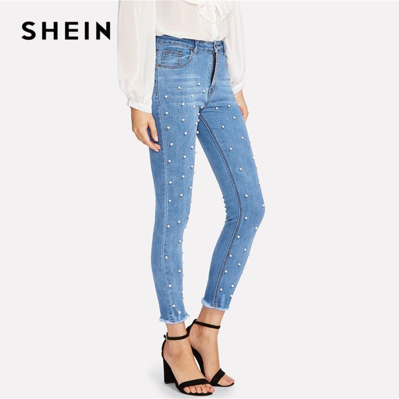 SHEIN Pearl Beaded Frayed Hem Jeans 2018 Summer Blue Mid Waist Pocket Zipper Fly Jeans Women Raw Hem Denim Casual Pants