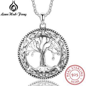 Vintage 925 Sterling Silver Tree of Life Rodada Colar de Pingente de Mulheres de Jóias de Prata Presente de Aniversário para A Avó (Hub Lam fong)