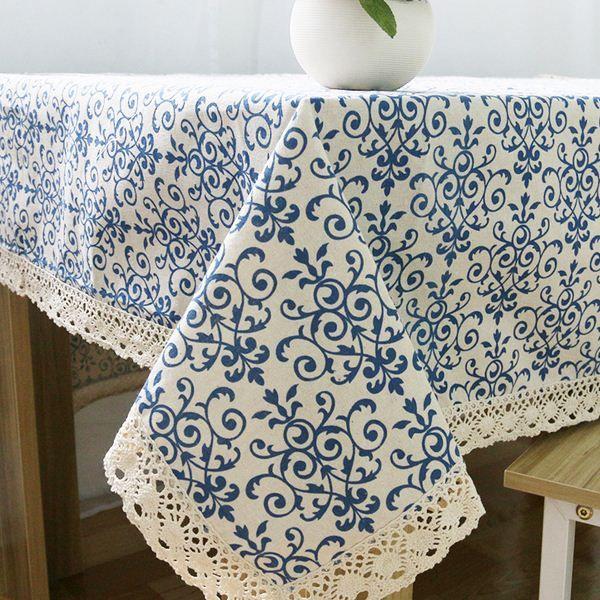 Nappe rétro bleu et blanc avec dentelle coton imprimé Style chinois nappes à manger rectangulaires couverture décor à la maison ZB-9
