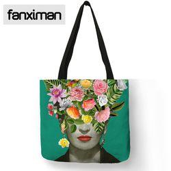 Único Frida Kahlo mano hogar plegable de viaje bolsa de almacenamiento alimentos ropa Lino reutilizable Totes bolsos de las mujeres de la manera