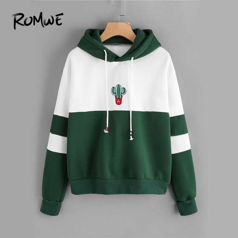 ROMWE Drawstring Color Block Cactus Embroidered Hoodie 2018 Spring Autumn Long Sleeve Ladies Casual Sporty Pullovers Sweatshirt