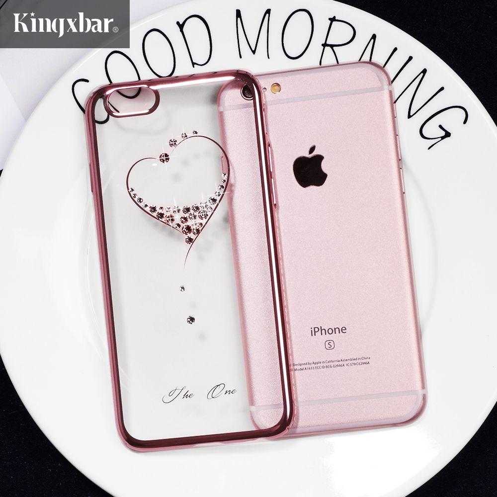 KINGXBAR pour iPhone 6 s 6 7 8 Plus le Cas Swarovski Élément Cristal diamant Cas De Luxe pour iPhone 7 Plus 8 Plus La Couverture Téléphone Coque