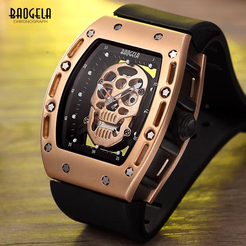 Baogela Fashion Rectangle Skeleton Dial Luminous Hands Silicone Strap Army Sport Quartz Watches BGL1612G-3