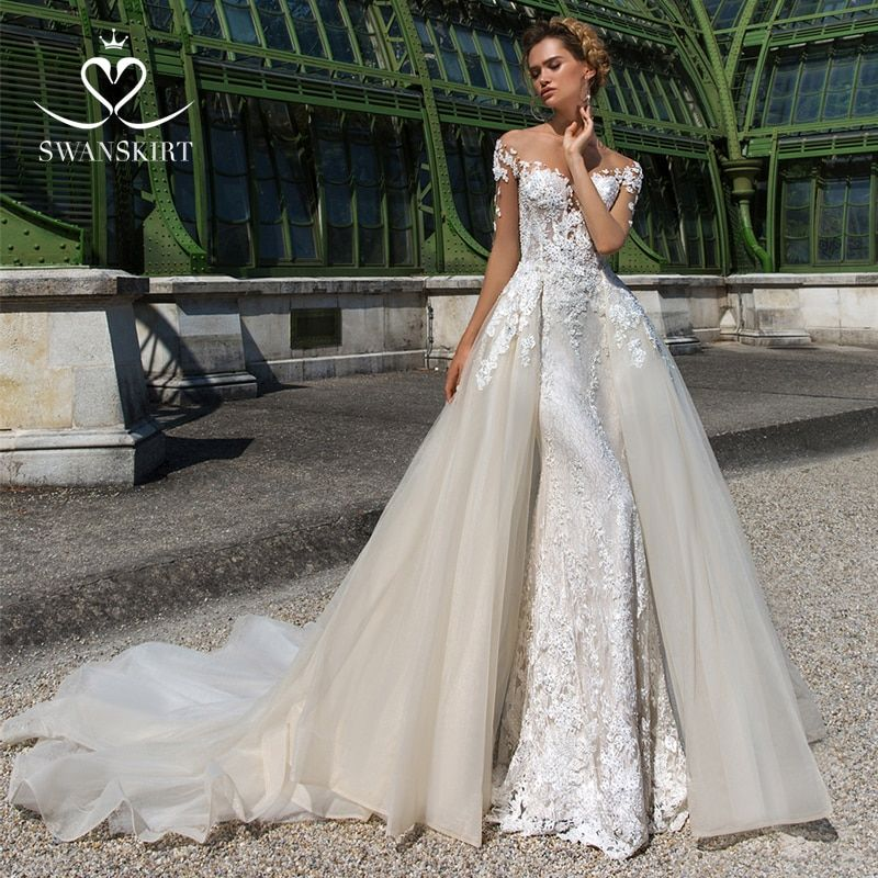 Swanskirt Luxus Liebsten A-linie Hochzeit Kleid 2019 Appliques Tüll Abnehmbare Zug Prinzessin Braut Kleid Robe De Mariage F193