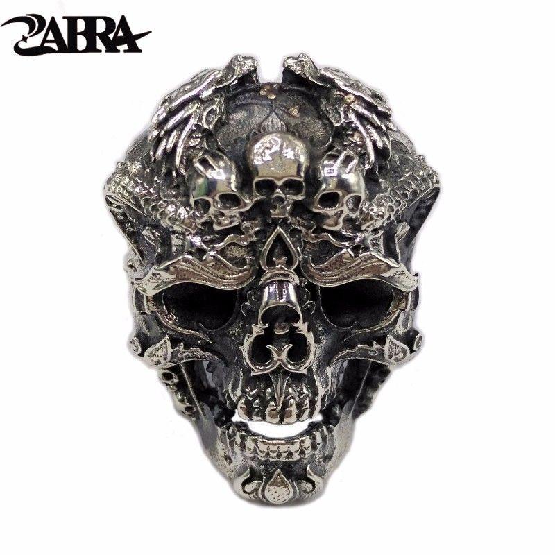 ZABRA Real 925 Sterling Silver Skull Ring Men Adjustable Dragon Ring Punk Rock Many Skeletons Mens Gothic Halloween Jewelry