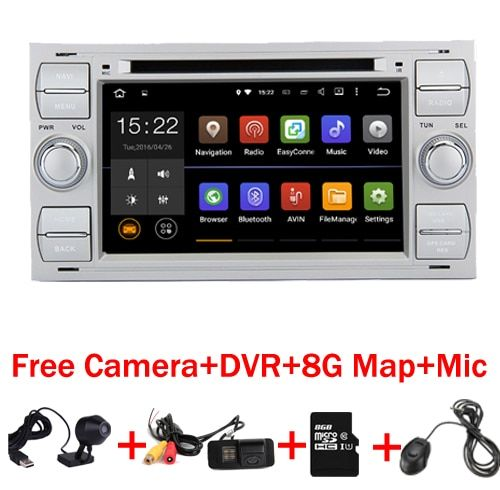 Free Shipping 2 din Android 7.1 Car DVD GPS for Ford Focus Kuga Transit Wifi 3G GPS Bluetooth Radio RDS SD Steering Wheel Ctrol