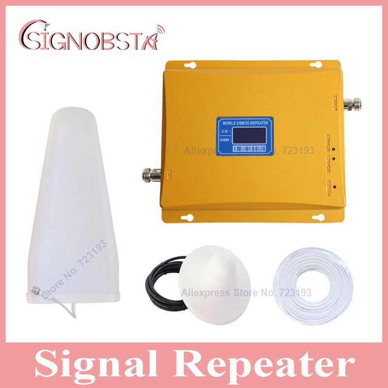 High gain LCD display cellphone dual band 900 2100 signal repeater booster mobile phone gsm900 3g wcdma 2100mhz UMTS amplifier