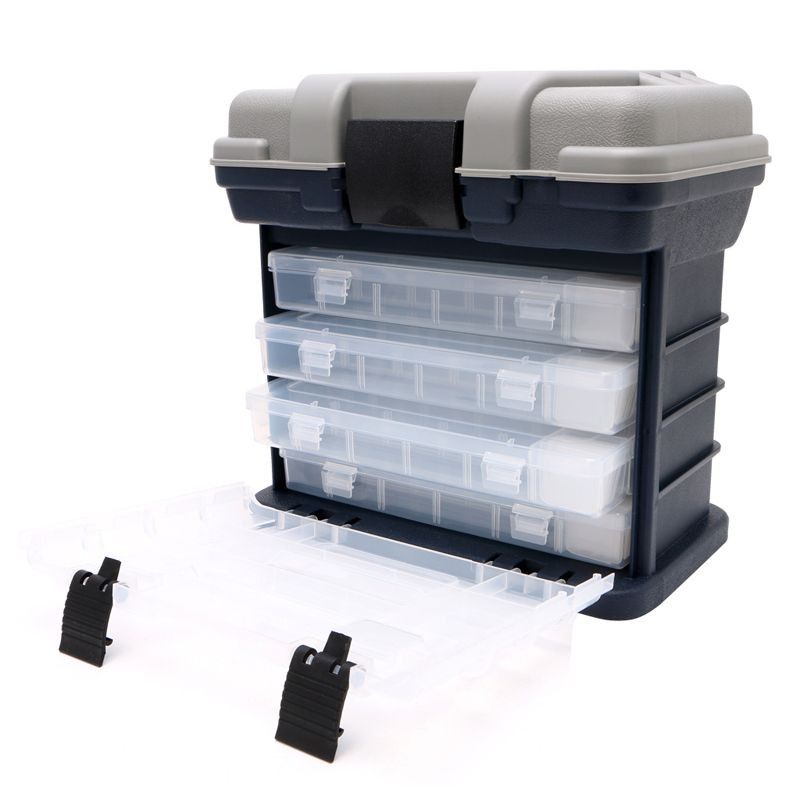 PP+ ABS Fishing suitcase 5 Layer Fishing Tackle Box Plastic Handle Fishing Box Carp Fishing Tools Impact resistant secure latch