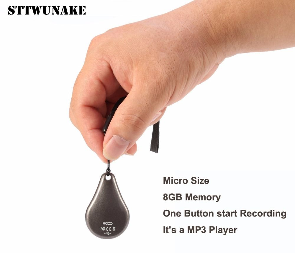 STTWUNAKE mini hidden Keychain voice recorder Professional Digital 8GB HD noise reduction Spy voice recording Built-in battery
