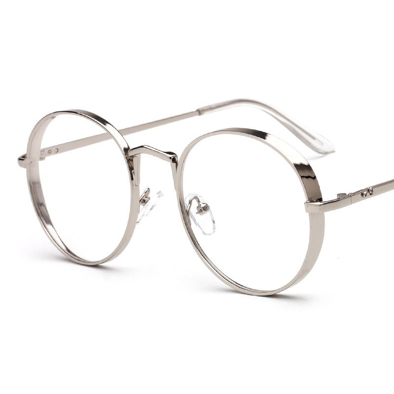 2017 New Arrival Metal Frame Eyewear Fashion Round Thick Alloy Clear Lens Pink Glasses Frame