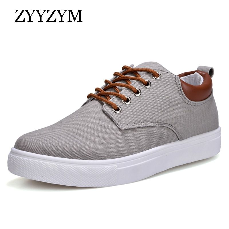 ZYYZYM Men Canvas shoes Lace-Up Style Breathable Casual Top Fashion Trend Student Youth Shoes Large size EUR 45-46