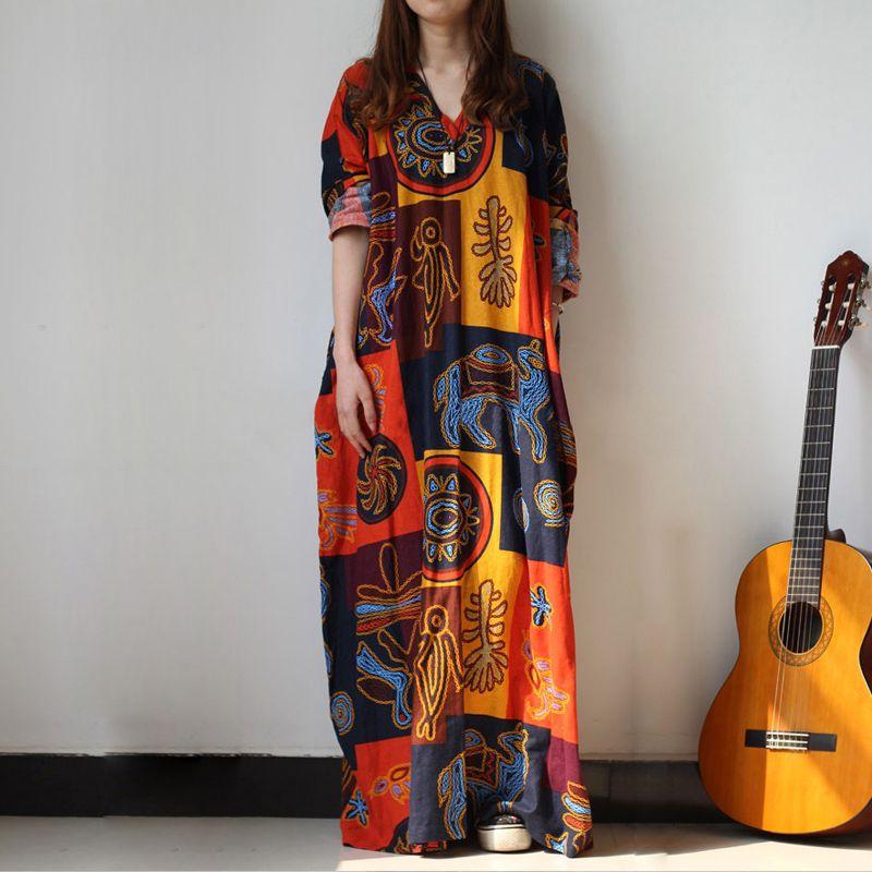 Ample Baggy longue Maxi robe femmes décontracté manches longues imprimé robes africaines caftan plage fête robes de grande taille femmes vêtements