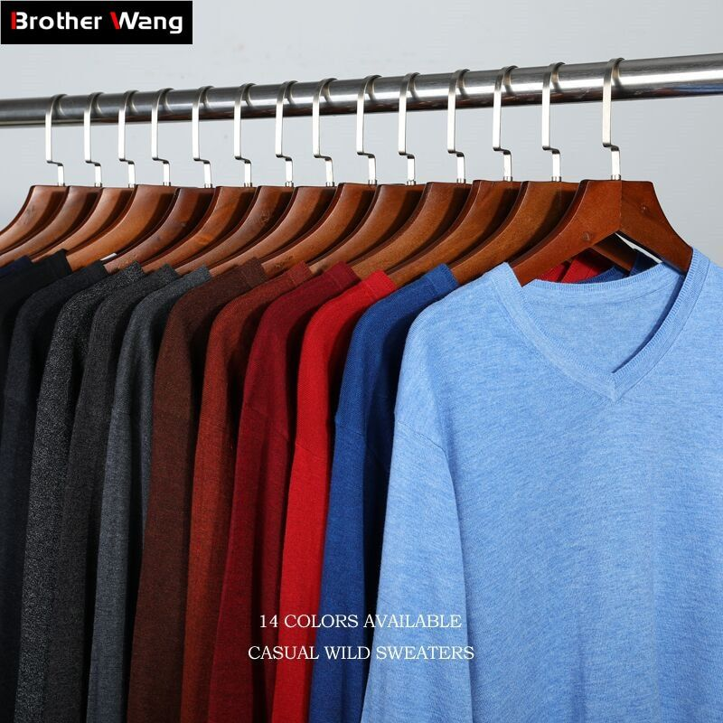 14Color 2018 Autumn Winter New Knitted Pullover Men Business Cashmere Sweater Men's Casual V-Collar Sweaters Brand Clothes
