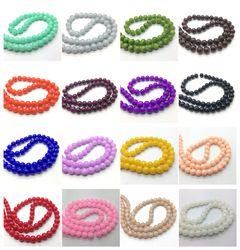 En gros 4mm 6mm 8mm 10mm Jade Couleur Verre Perle Ronde Perles Lâches BRICOLAGE Bijoux Faisant 40 couleurs Pick