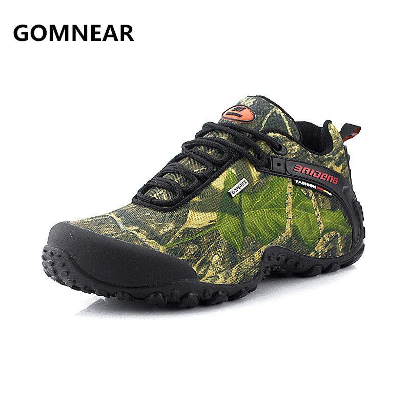 GOMNEAR étanche toile randonnée chaussures Pour Hommes Anti-dérapage résistant à l'usure respirant pêche camping escalade semelle en caoutchouc chaussures