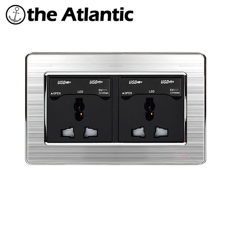 Atlantic Double 3 Hole Universal Socket with Dual USB Charge Port For Mobile Output 5V 2.1A Wall Power Outlet Stainless Steel