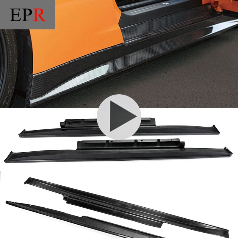 Car-styling For R35 GTR GT-R Carbon Fiber ZE Style Side Skirt Glossy Fibre Zele Door Body Kit Racing Auto Accessories Trim