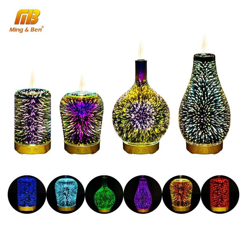 3D Bunte Feuerwerk LED Nacht Licht Luftbefeuchter Aroma Öl Diffusor für home LED Nebel Ultraschall Sprayer Aromatherapie Lampe