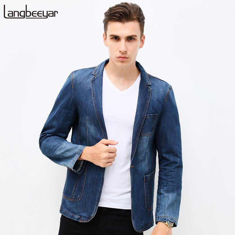 Новая весенняя модель 2015, стильный джинсовый мужской повседневный приталенный блейзер из высококачесвтенного денима