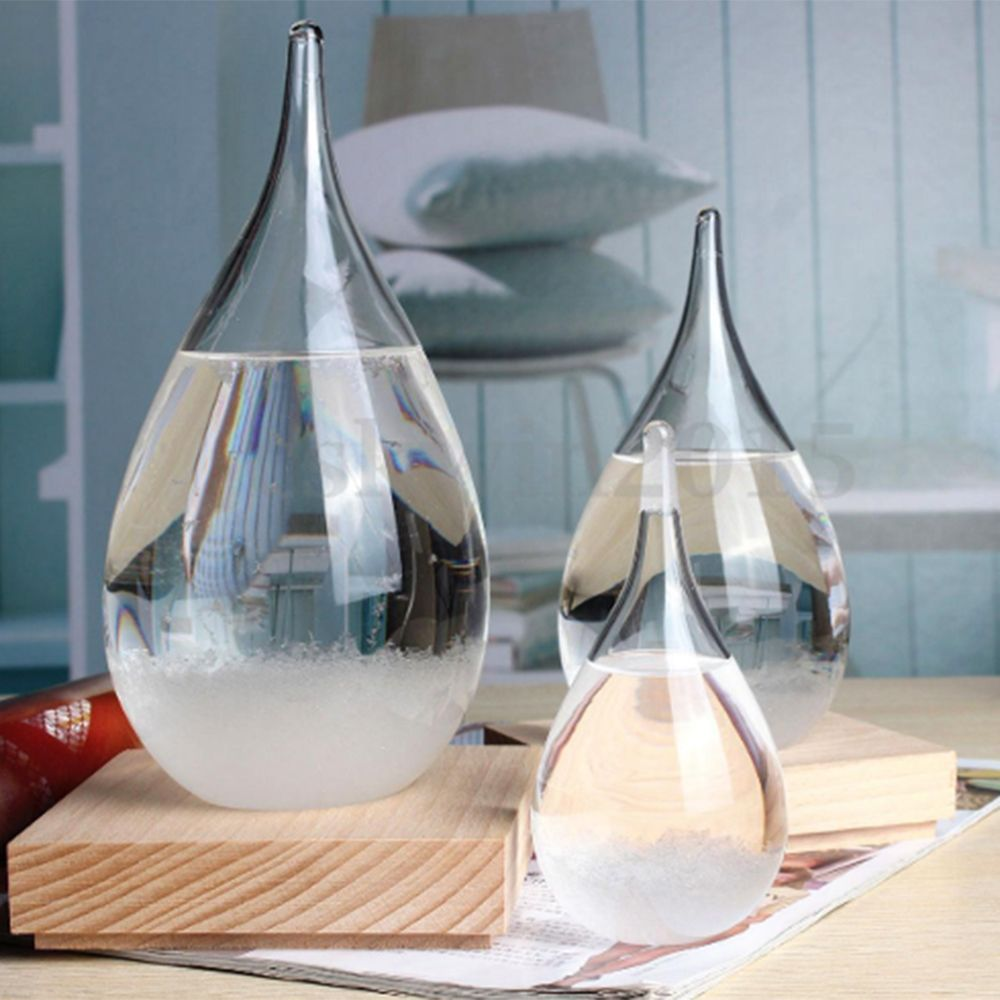 Transparent Crystal Water Drop Weather Forecast Bottle Storm Glass Liquid Wood Base Ornament Home Wedding Decor Craft Gift