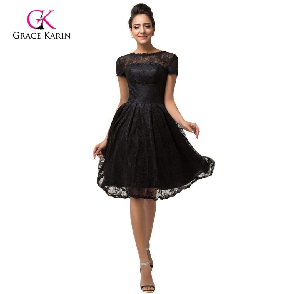 Short Sleeve Black Lace Cocktail Dresses Grace Karin Vestidos De Coctel 2017 Cocktail Party Dresses Mother of the Bride Dress