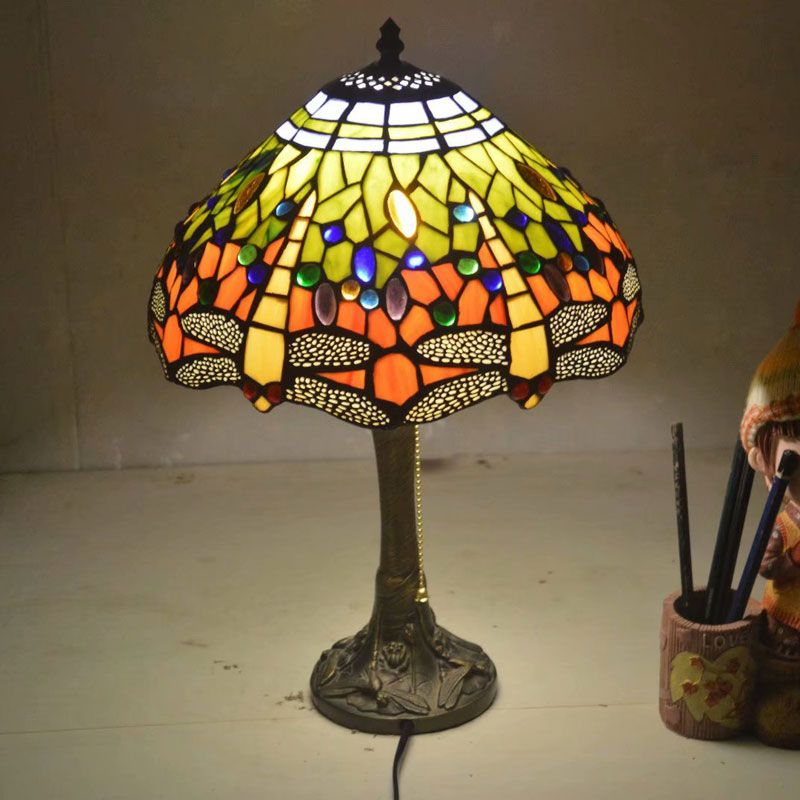 12 Inch Dragonfly Stained Glass Lampshade Tiffany Table Lamp Country Style Bedside Lamp E27 110-240V