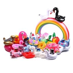 Summer 2018 Mini Drink Floating Swim Ring Beach Water Pool Party Toys Drink Cup Holders Inflatable Pool Coasters Swan Flamingo