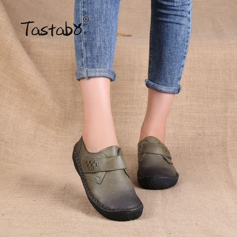 Tastabo Mode Dames Chaussures Femmes En Cuir Véritable Appartements Casual Mocassins Souples Chaussures de Conduite des Femmes Appartements Crochet Boucle Femmes Appartements