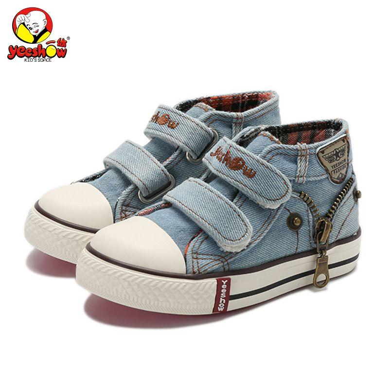 Nouveau 2019 printemps toile enfants chaussures garçons baskets marque enfants chaussures pour filles Jeans Denim bottes plates bébé enfant en bas âge chaussures