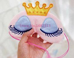 Lovely Pink/Blue Crown Sleeping Mask Crown Eyeshade Eye Cover Travel Cartoon Long Eyelashes Blindfold Gift For Women Girls les