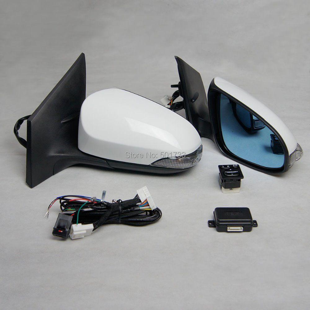 Auto Power Falten Spiegel für Corolla mit Falten Schalter, automatische Klapp, Anti-glare Erhitzt Blau Spiegel